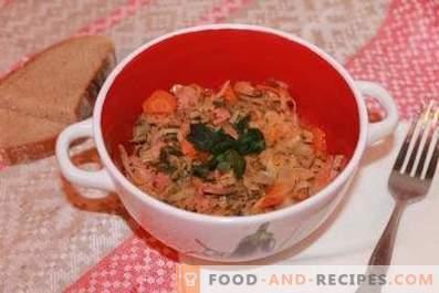 Repollo cocido en una olla de cocción lenta