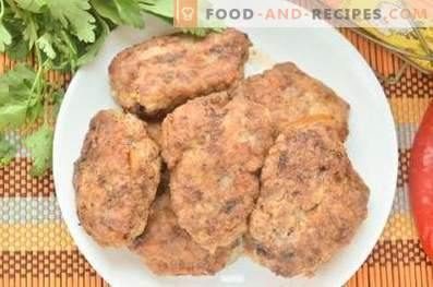 Pork and beef patties in a pan