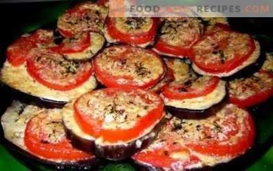 Fried eggplants with tomatoes and garlic