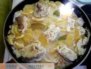 Pollock stew in sour cream