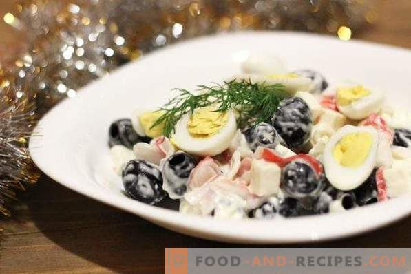 Salad with crab sticks and olives
