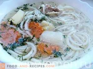 Chicken soup with pasta and potatoes