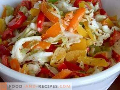 Salads with cabbage and bell peppers