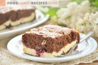 Brownies with cherry and cottage cheese