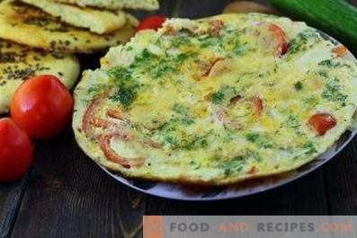 Omelet with Tomatoes in a Pan