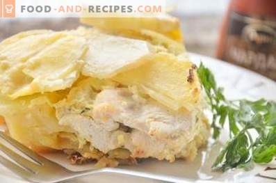 Potato casserole with chicken in the oven