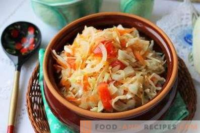 Salads with fresh cabbage and carrots