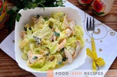 Salads with pineapples and chicken breast
