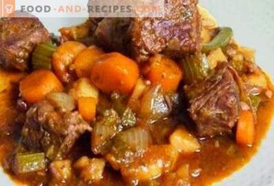 Lamb stewed with vegetables in a slow cooker