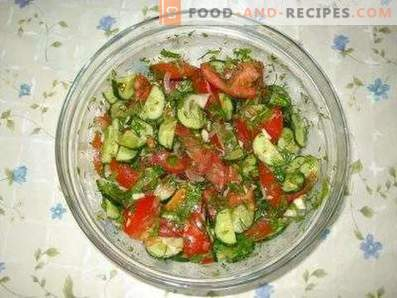 Salads with tomatoes and cucumbers