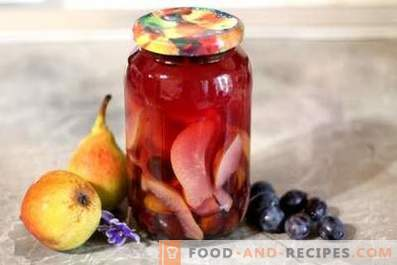 Compote of pears and plums for the winter