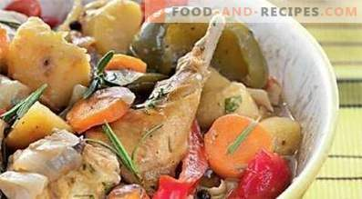 Rabbit stewed with vegetables in a slow cooker