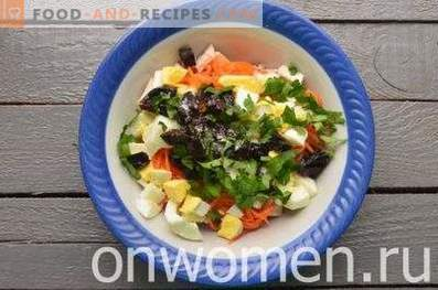 Chicken, prune and Korean carrot salad