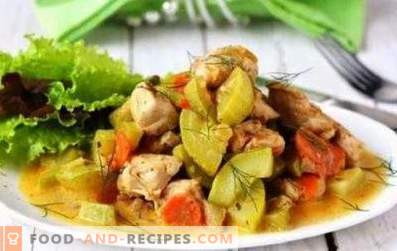 Chicken stewed with zucchini