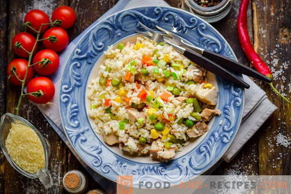 Fast pilaf with meat and vegetables