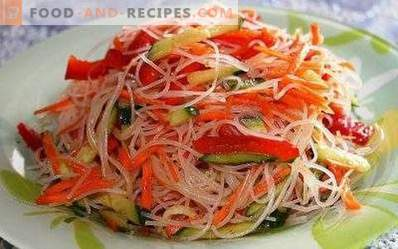 Salads with funchozy and vegetables