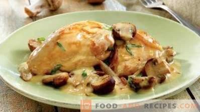 Chicken stewed in sour cream