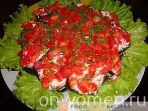 Salad with eggplants, tomatoes and mushrooms