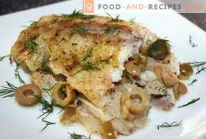 Hake with olive sauce