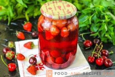 Sweet cherry and strawberry compote for the winter
