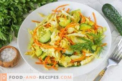 Cabbage and carrot salads