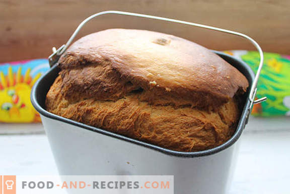 Real yeast cake with raisins in a bread maker according to the recipe of our grandmothers