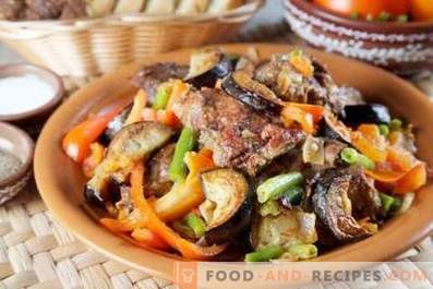 Lamb stewed with eggplants and tomatoes