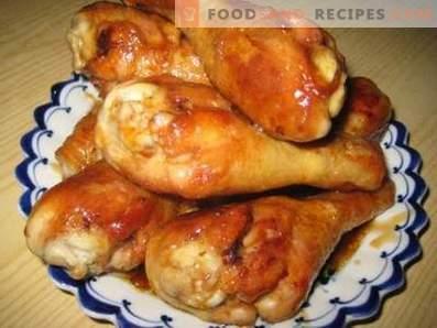 Fried chicken drumsticks in a pan