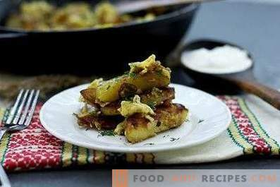 Potatoes fried with onions, garlic and eggs