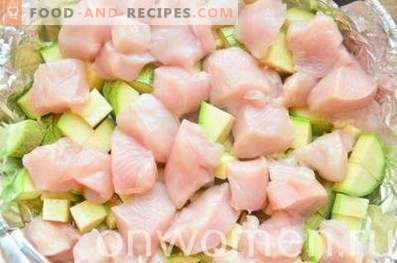 Zucchini casserole with chicken in the oven