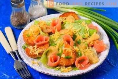 Caesar salad with red fish