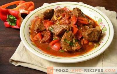 Pork goulash in a pan - tender meat in a gravy! Recipes for delicious pork goulash in a pan with vegetables