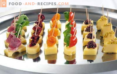 Delicious and elegant decorations - simple canapes on skewers. On the holiday table: simple canapes on skewers: ways of serving
