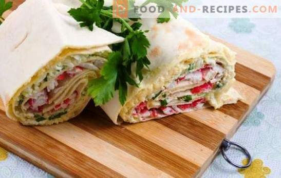 Roll of pita, cheese and crab sticks - gorgeous! A selection of the best rolls of pita with cheese and crab sticks