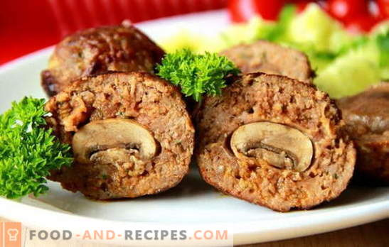 Stuffed patties - with a surprise! Recipes stuffed meatballs with mushrooms, eggs, cheese, liver, potatoes, vegetables