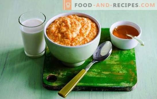 Millet porridge with pumpkin on milk - golden porridge. Cooking in pots, a slow cooker, on the stove - millet porridge with pumpkin in milk