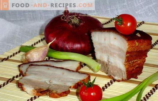 Lard in onion peel - quick salting! Secrets and recipes of cooking bacon in onion peel with garlic, adzhika, mustard, liquid smoke