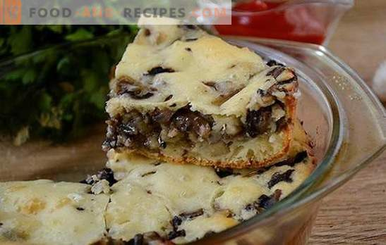 Pie jellied with mushrooms on kefir - gorgeous snack