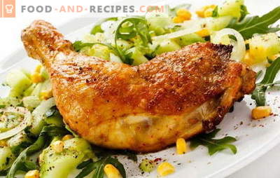 Fried chicken legs in a pan - a classic way to cook meat. Recipes fried chicken legs in a frying pan with garlic, tomato