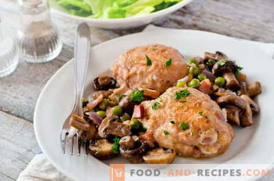 Chicken with mushrooms - the best recipes. How to properly and cook chicken with mushrooms.