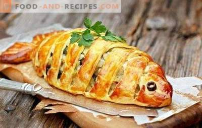 Fast fish pie - a find for busy housewives! Cooking quick fish pies on kefir, mayonnaise, sour cream, puff pastry