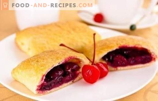 Puffs with cherries - the most delicious pastry with your favorite berry! Surprise you with your skill: engage in cooking cherry puffs