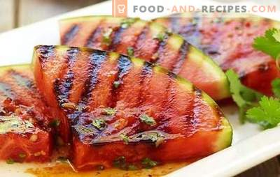 Fried watermelon - a riot of taste! Recipes of fried watermelons on the grill, in batter, with caramel, cheese and ham