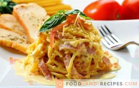 Spaghetti with ham - basic and complex recipes, classic and sauce. And also an unusual pasta pizza made from spaghetti with ham