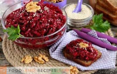 Snack from beets for the winter - colors of autumn in each can. A selection of the best recipes for beet snacks for the winter with different vegetables
