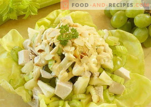 Chicken and celery salad - the best recipes. How to properly and tasty to prepare a salad with chicken and celery.