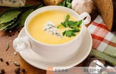Cheese soup in a step-by-step recipe from processed cheese and hard cheese. Recipes cheese soup with vegetables, chicken, rice, cream