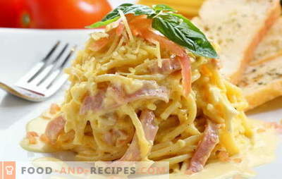 Carbonara with bacon and cream is a great idea for a hearty dinner. Recipes carbonara with bacon and cream from Italian gourmet