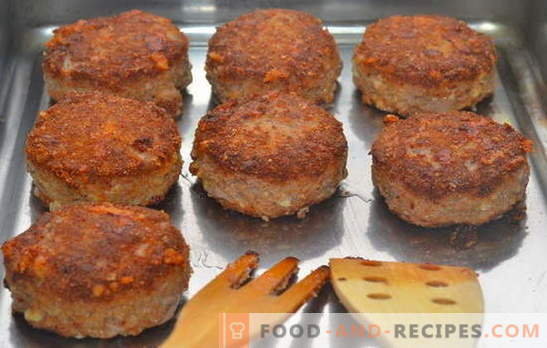 Minced meat cutlets in the oven - always successful! Recipes minced meat patties in the oven: with pork, beef and poultry