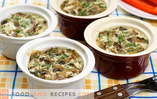 Mushrooms with cream - just with taste. The best recipes of mushrooms with cream: fried, stewed, baked, in pots